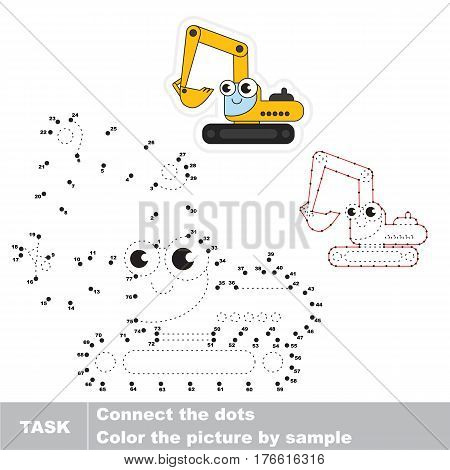 Funny Toy Excavator in vector to be traced by numbers, the easy educational kid game with simple game level, the education and gaming for kids, visual game for children.