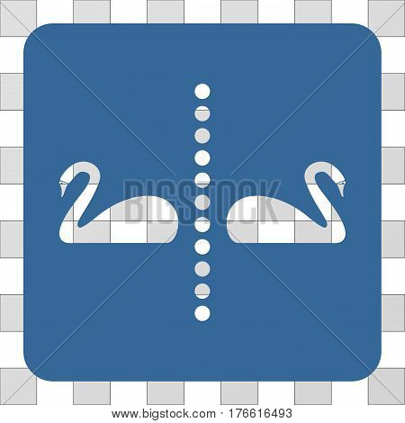 Separate Swans interface icon. Vector pictograph style is a flat symbol hole on a rounded square shape, cobalt blue color.