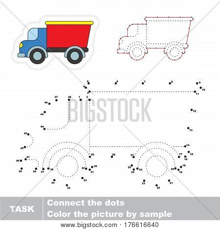 Lorry in vector to be traced by numbers, the easy educational kid game with simple game level, the education and gaming for kids, visual game for children.