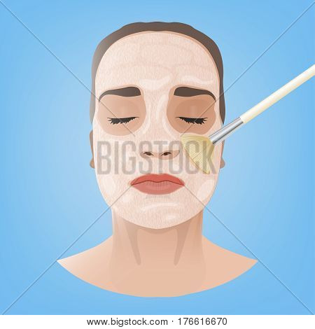 Beautiful woman with a face-pack during the cosmetological procedure. Vector illustration in light beige colours isolated on a blue background.