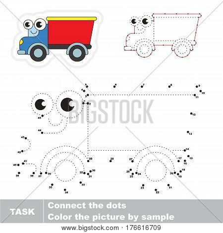 Funny Toy Lorry in vector to be traced by numbers, the easy educational kid game with simple game level, the education and gaming for kids, visual game for children.