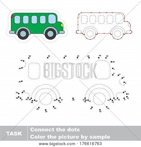 Van in vector to be traced by numbers, the easy educational kid game with simple game level, the education and gaming for kids, visual game for children.