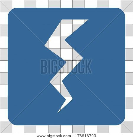 Thunder Crack interface icon. Vector pictogram style is a flat symbol perforation inside a rounded square shape, cobalt blue color.