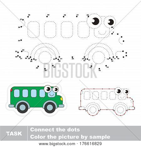 Funny Toy Bus in vector to be traced by numbers, the easy educational kid game with simple game level, the education and gaming for kids, visual game for children.