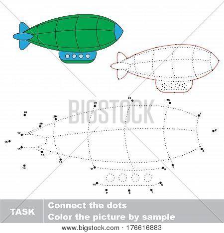 Zeppelin in vector to be traced by numbers, visual game for children.