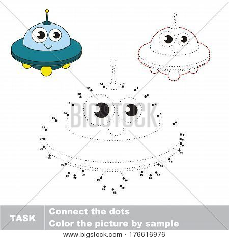 Funny Toy Funny Toy Ufo in vector to be traced by numbers, the easy educational kid game with simple game level, the education and gaming for kids, visual game for children.