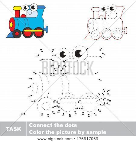 Funny Toy Locomotive in vector to be traced by numbers, the easy educational kid game with simple game level, the education and gaming for kids, visual game for children.