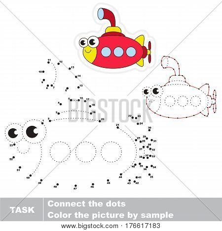 Funny Toy Submarine in vector to be traced by numbers, the easy educational kid game with simple game level, the education and gaming for kids, visual game for children.