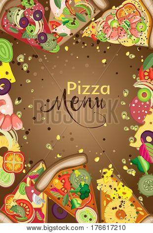Vector vertical frame of pieces of pizza and ingredients. You can use to create a menu banner or advertising poster