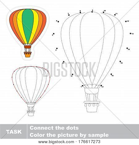 Aerostat in vector to be traced by numbers, visual game for children.