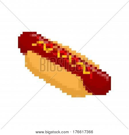 Hot Dog Pixel Art. Fastfood Pixelated. Fast Food Isolated
