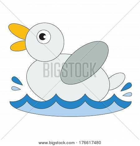 Duck cartoon. Outlined small duck with black stroke.