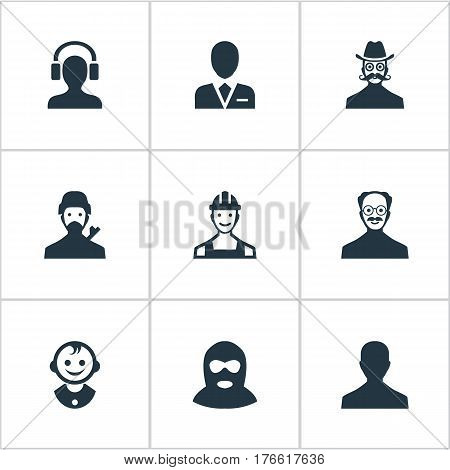 Vector Illustration Set Of Simple Human Icons. Elements Moustache Man, Male With Headphone, Mysterious Man And Other Synonyms Young, Culprit And Whiskers.