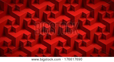 Volume realistic unreal texture, red cubes, 3d geometric pattern, vector design background