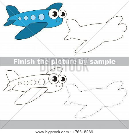 Drawing worksheet for children. Easy educational kid game. Simple level of difficulty. Finish the picture and draw the cute Airplane