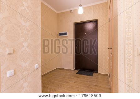 The Interior hallway small the apartment unfurnished