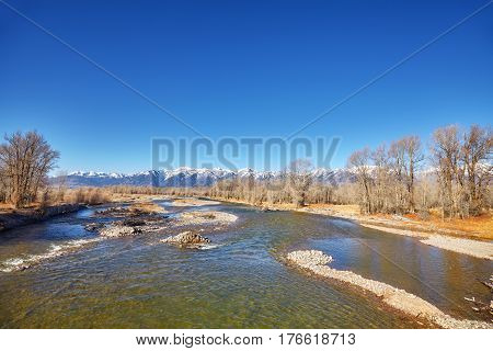 Snake River in Autumn Grand Teton National Park Wyoming USA.
