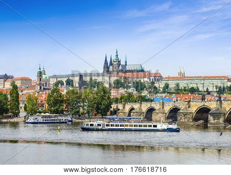 Prague Czech Republic - 8 August 2016: View to Prague Castle and Charles Bridge over Vltava river Prague Czech Republic 8 August 2016