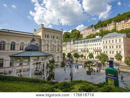 Karlovy vary Czech republic - June 26 2016: Freedom Spring and Promenade in Karlovy vary Czech republic June 26 2016
