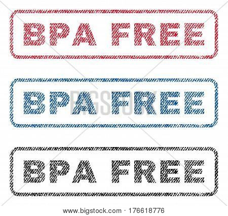 Bpa Free text textile seal stamp watermarks. Blue red black fabric vectorized texture. Vector caption inside rounded rectangular banner. Rubber sign with fiber textile structure.