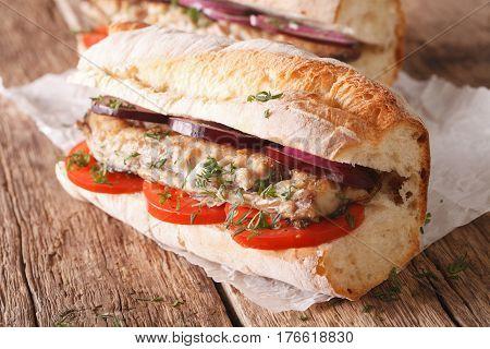 Turkish Sandwich Balik Ekmek Close-up. Horizontal