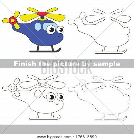 Drawing worksheet for children. Easy educational kid game. Simple level of difficulty. Finish the picture and draw the Funny Helicopter