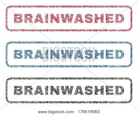 Brainwashed text textile seal stamp watermarks. Blue red black fabric vectorized texture. Vector caption inside rounded rectangular banner. Rubber sticker with fiber textile structure.
