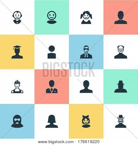 Vector Illustration Set Of Simple Avatar Icons. Elements Moustache Man, Proletarian, Girl Face And Other Synonyms Little, Girl And Inspector.