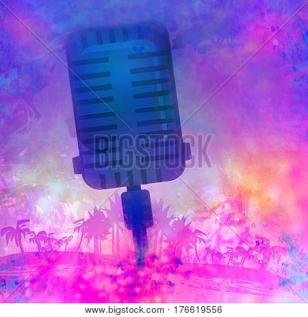 Banner with microphone for karaoke parties , raster