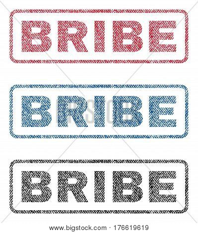 Bribe text textile seal stamp watermarks. Blue red black fabric vectorized texture. Vector tag inside rounded rectangular banner. Rubber sticker with fiber textile structure.