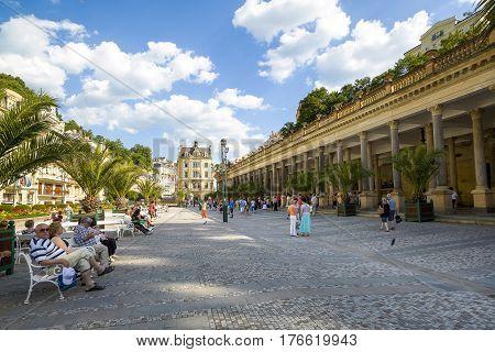 Karlovy Vary Czech republic - July 18 2016:Mill Colonnade and Promenade street in Karlovy Vary Czech republic July 18 2016