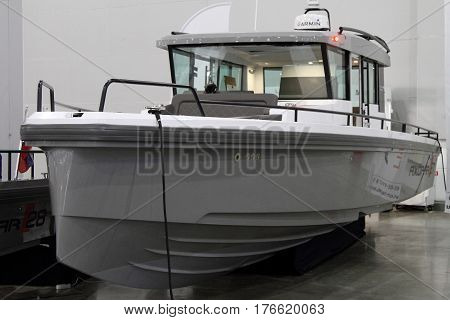 MOSCOW - MARCH 09 2017: Boat Axopar 37 Cabin for 10 International boat show in Moscow. Russia.
