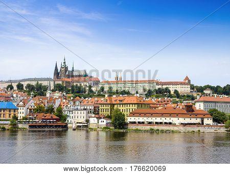 Prague Czech Republic - 8 August 2016: View to Prague Castle and Charles Bridge over Vltava river Prague Czech Republic 8 August 2016