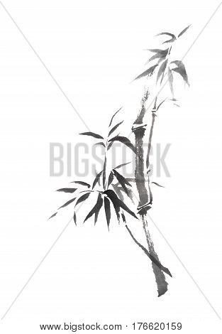 Japanese style sumi-e curved bamboo branch painting. Great for greeting cards or texture design.