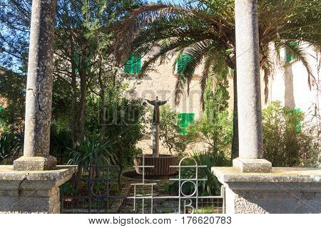 Monastery Santuari De Cura Statue On Puig De Randa, Majorca, Spain