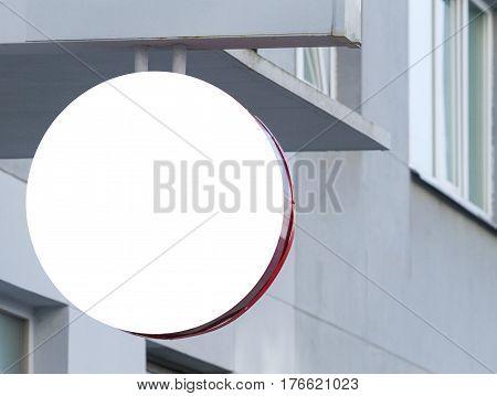 Signboard. Mock up Round shape. City background