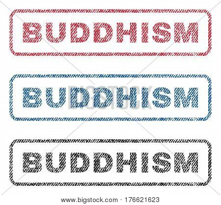 Buddhism text textile seal stamp watermarks. Blue red black fabric vectorized texture. Vector tag inside rounded rectangular banner. Rubber sign with fiber textile structure.