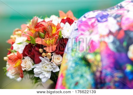 Bouquet of colors of summer rose iris astra