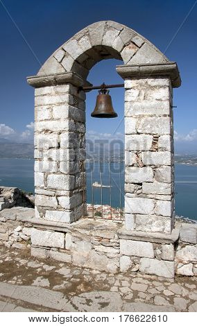 Panoramic view with the belfry at the top of Palamidi Fortress in Nafplion Argolis Peloponnese Greece