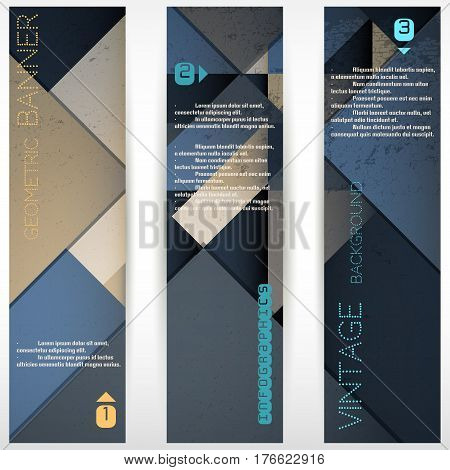 Set Of Three Vertical Banners. Polygonal Vector Background With Elements Of Infographics.