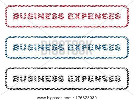 Business Expenses text textile seal stamp watermarks. Blue red black fabric vectorized texture. Vector caption inside rounded rectangular banner. Rubber sticker with fiber textile structure.