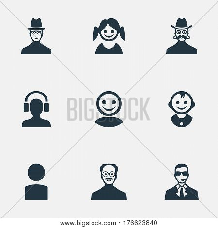 Vector Illustration Set Of Simple Human Icons. Elements Bodyguard, Little Girl, Whiskers Man And Other Synonyms Little, Security And Profile.