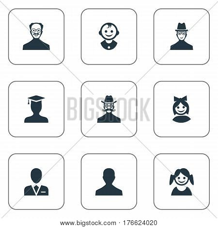 Vector Illustration Set Of Simple Member Icons. Elements Male User, Little Girl, Workman And Other Synonyms Daughter, Boy And Male.