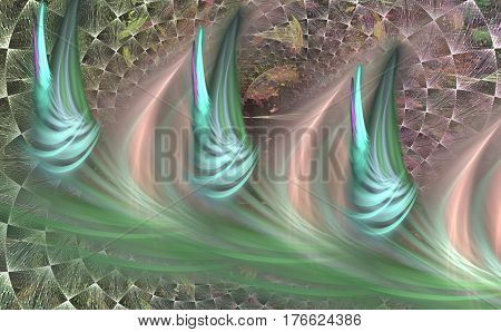 Abstract design of three turquoise blurred fractal flowers on a mesh background for decorative panels and posters decoration of walls and wallpapers. Creates an illusion of the tunnel. Fractal art background.