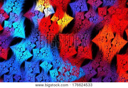 Abstract funky blue and red checkeredl pattern for fabric wallpaper and wall decoration on black background. Fractal art.