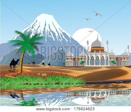 The scenery, the Arab Palace in the desert. Oasis. A caravan of camels. Lake and palm trees in the desert. The mountain ridge. Vector illustration