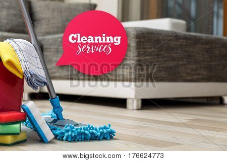 Cleaning service. Bucket with sponges and mopping stick. Washcloth and towel. Speech bubble. Household equipment.