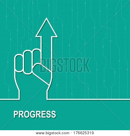 Economic  rise. Business diagram with arrow up. Vector illustration