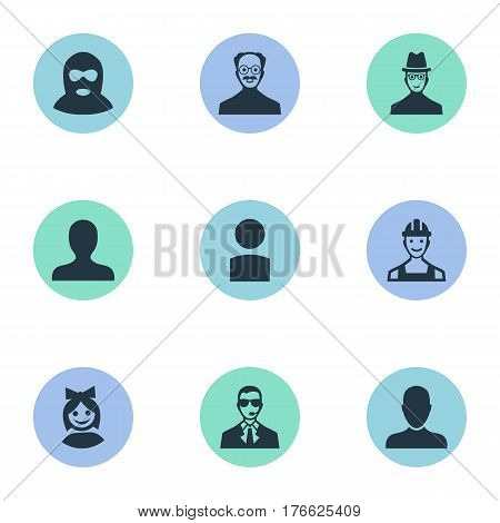 Vector Illustration Set Of Simple Human Icons. Elements Spy, Insider, Girl Face And Other Synonyms Face, Personal And Culprit.