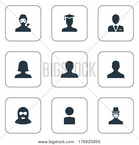 Vector Illustration Set Of Simple Member Icons. Elements Felon, Portrait, Insider And Other Synonyms Avatar, Member And Insider.